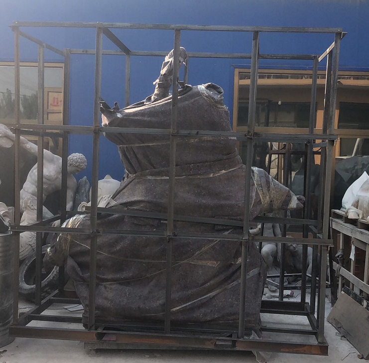 Packed sculpture in crates