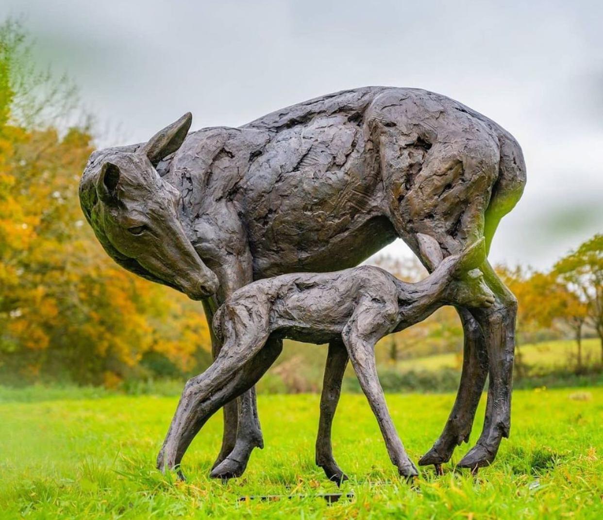 Two Deer Sculpture for Garden