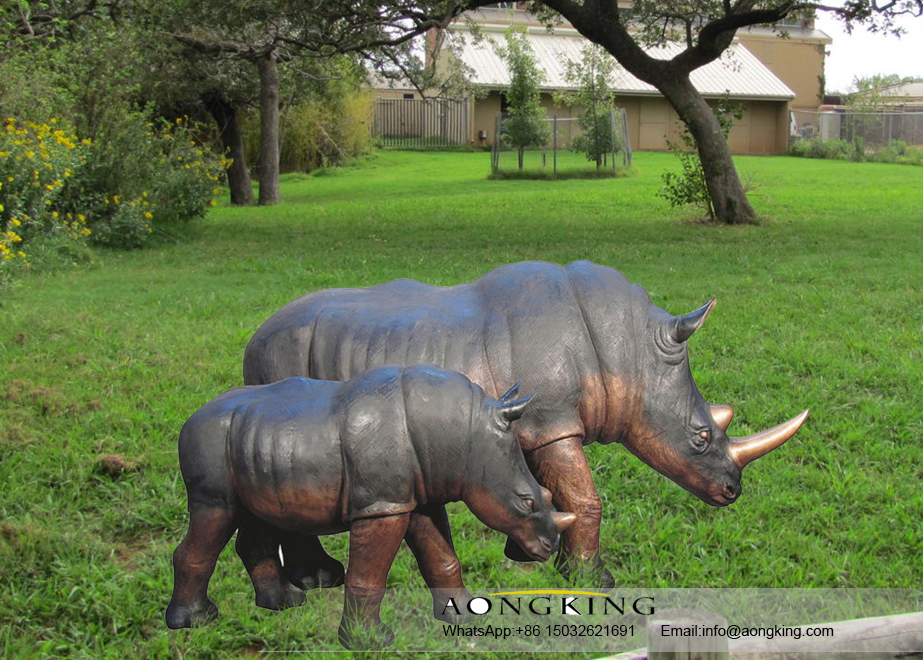 bronze rhino sculpture