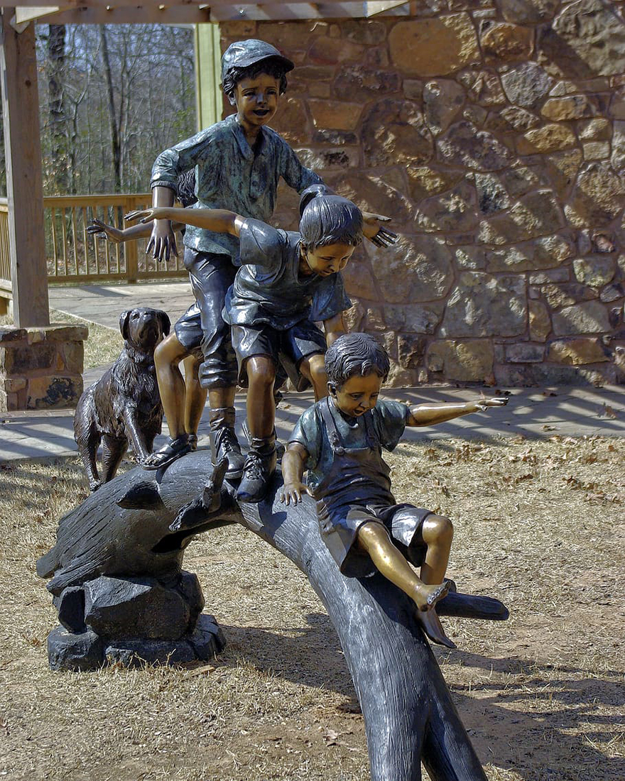 Large Bronze Outdoor Children Playing on the Stump