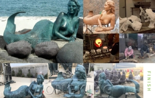 The production process of bronze mermaid sculpture