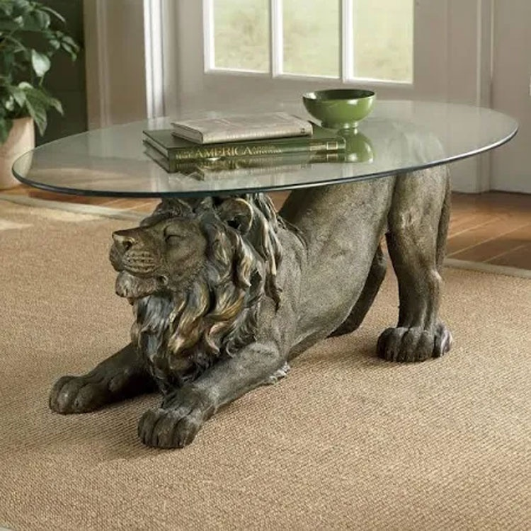 bronze lion coffee table decor